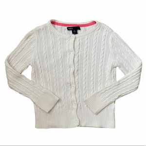 Gap Kids White Cable Knit Cardigan Sweater